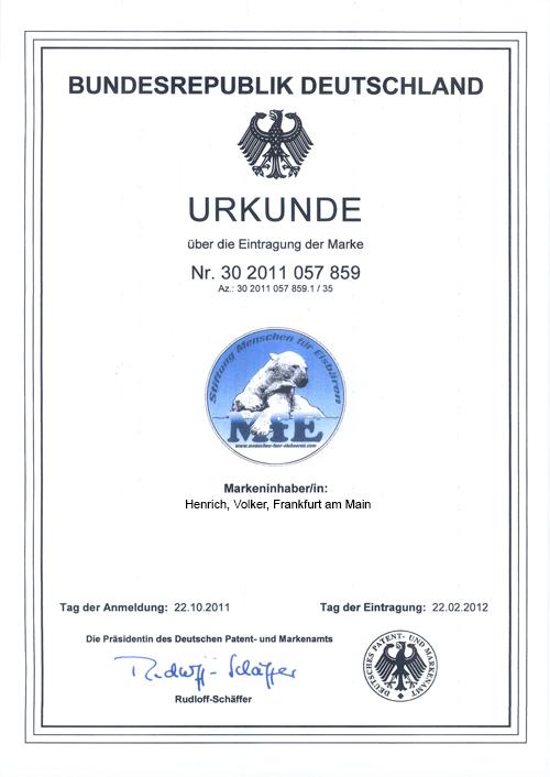 Urkunde Markenschutz